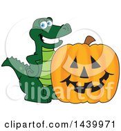 Gator School Mascot Character With A Halloween Jackolantern Pumpkin