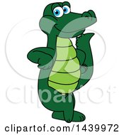 Clipart Of A Gator School Mascot Character Leaning Royalty Free Vector Illustration
