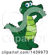 Clipart Of A Gator School Mascot Character Waving Royalty Free Vector Illustration