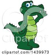 Gator School Mascot Character Waving