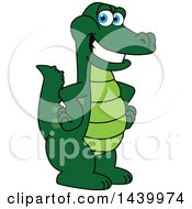 Gator School Mascot Character With Hands On His Hips