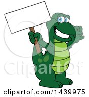 Clipart Of A Gator School Mascot Character Holding A Blank Sign Royalty Free Vector Illustration