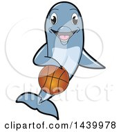 Poster, Art Print Of Porpoise Dolphin School Mascot Character Dribbling A Basketball