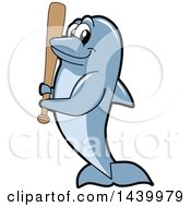 Clipart Of A Porpoise Dolphin School Mascot Character Holding A Baseball Bat Royalty Free Vector Illustration