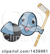 Clipart Of A Porpoise Dolphin School Mascot Character Grabbing A Hockey Puck And Holding A Stick Royalty Free Vector Illustration