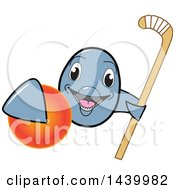 Porpoise Dolphin School Mascot Character Grabbing A Field Hockey Ball And Holding A Stick