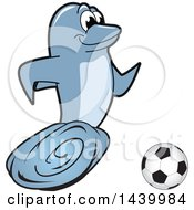 Clipart Of A Porpoise Dolphin School Mascot Character Playing Soccer Royalty Free Vector Illustration by Toons4Biz