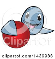 Clipart Of A Porpoise Dolphin School Mascot Character Grabbing A Field Hockey Ball Royalty Free Vector Illustration