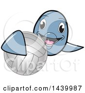 Clipart Of A Porpoise Dolphin School Mascot Character Grabbing A Volleyball Royalty Free Vector Illustration