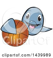 Poster, Art Print Of Porpoise Dolphin School Mascot Character Grabbing A Basketball