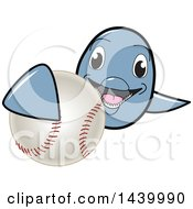 Clipart Of A Porpoise Dolphin School Mascot Character Grabbing A Baseball Royalty Free Vector Illustration by Toons4Biz