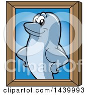 Clipart Of A Porpoise Dolphin School Mascot Character Portrait Royalty Free Vector Illustration