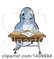 Porpoise Dolphin School Mascot Character Student Taking A Quiz At A Desk