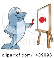Clipart Of A Porpoise Dolphin School Mascot Character Painting A Fish Royalty Free Vector Illustration by Toons4Biz