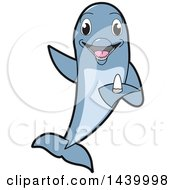 Clipart Of A Porpoise Dolphin School Mascot Character Holding A Tooth Royalty Free Vector Illustration by Toons4Biz