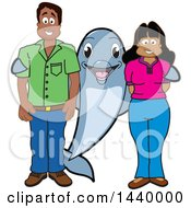 Porpoise Dolphin School Mascot Character With Teachers Or Parents