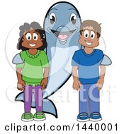 Porpoise Dolphin School Mascot Character With Happy Students