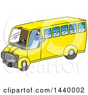 Clipart Of A Porpoise Dolphin School Mascot Character Driving A School Bus Royalty Free Vector Illustration