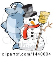 Clipart Of A Porpoise Dolphin School Mascot Character With A Snowman Royalty Free Vector Illustration by Toons4Biz
