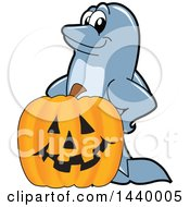 Clipart Of A Porpoise Dolphin School Mascot Character With A Halloween Jackolantern Pumpkin Royalty Free Vector Illustration by Toons4Biz