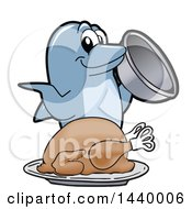 Porpoise Dolphin School Mascot Character Serving A Roasted Turkey