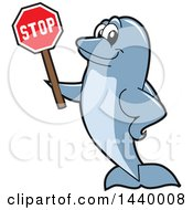Clipart Of A Porpoise Dolphin School Mascot Character Holding A Stop Sign Royalty Free Vector Illustration