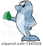Clipart Of A Porpoise Dolphin School Mascot Character Holding Cash Royalty Free Vector Illustration