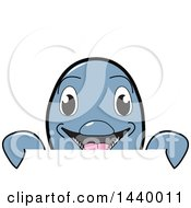 Porpoise Dolphin School Mascot Character Looking Over A Sign