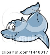 Clipart Of A Porpoise Dolphin School Mascot Character Swimming Royalty Free Vector Illustration