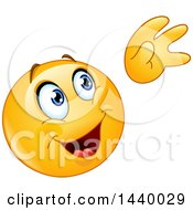 Clipart Of A Cartoon Yellow Emoji Smiley Face Emoticon Waving Farewell Royalty Free Vector Illustration