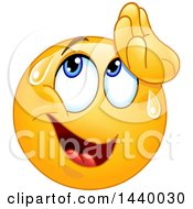 Clipart Of A Cartoon Yellow Emoji Smiley Face Emoticon Wiping Sweat From His Forehead Royalty Free Vector Illustration