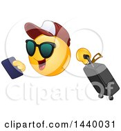 Cartoon Yellow Emoji Smiley Face Emoticon Traveler With A Passport And Suitcase