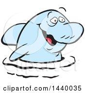 Cartoon Happy Blue Dolphin
