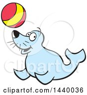 Cartoon Happy Seal Playing With A Ball