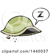 Clipart Of A Sleeping Tortoise Inside His Shell Royalty Free Vector Illustration