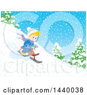 Clipart Of A Happy Blond Caucasian Boy Riding A Snow Trike Down A Hill Royalty Free Vector Illustration