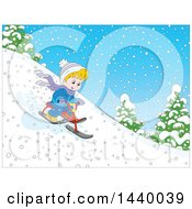 Clipart Of A Cartoon Happy Blond White Boy Riding A Snow Trike Down A Hill Royalty Free Vector Illustration