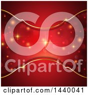 Clipart Of A Red And Gold Ornate Background With Flares Royalty Free Vector Illustration