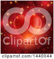 Clipart Of A Red Heart With Flares And Sparkles Royalty Free Vector Illustration by KJ Pargeter