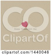 Red Heart And Happy Valentines Day Greeting On Cardboard