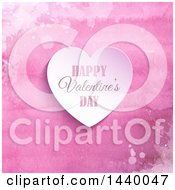 Happy Valentines Day Greeting Heart Over Pink Watercolor