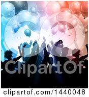 Poster, Art Print Of Group Of Silhouetted People Dancing Under Party Balloons