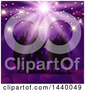 Clipart Of A Group Of Silhouetted People Dancing Under Party Lights On Purple Royalty Free Vector Illustration