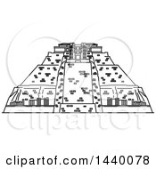 Poster, Art Print Of Black And White Line Drawing Styled Mexican Landmark Uxmal