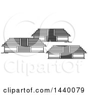 Clipart Of A Black And White Line Drawing Styled Mexican Landmark Teotihuacan Royalty Free Vector Illustration