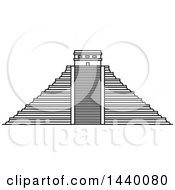 Clipart Of A Black And White Line Drawing Styled Mexican Landmark Chichen Itza Royalty Free Vector Illustration