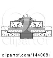 Clipart Of A Black And White Line Drawing Styled Mexican Landmark Ek Balam Royalty Free Vector Illustration