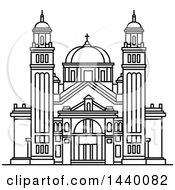 Clipart Of A Black And White Line Drawing Of The St James Cathedral Building Royalty Free Vector Illustration