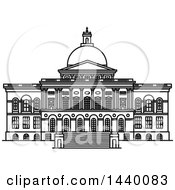 Clipart Of A Black And White Line Drawing Of The Massachusetts State House Royalty Free Vector Illustration