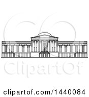 Clipart Of A Black And White Line Drawing Of The National Gallery Of Art Building Royalty Free Vector Illustration